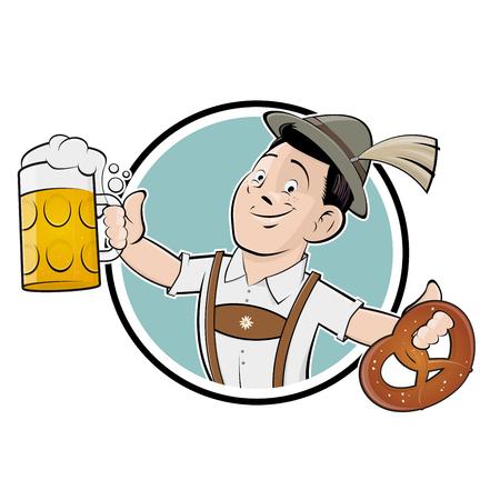 oktoberfest bayern mann zeichen symbol Illustration