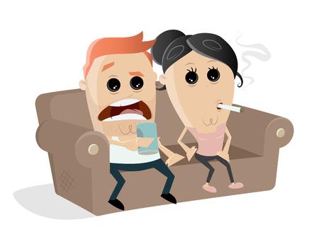 schäbiges Paar ist bereit für einen gemütlichen TV-Abend