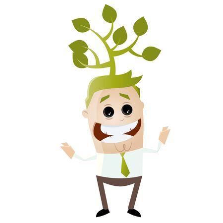 grüner Geschäftsmann mit Baum auf dem Kopf