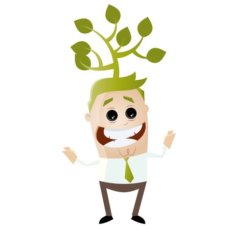 green businessman with tree on his head
