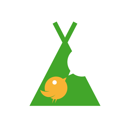 cute bird twittering in a teepee sign Illustration