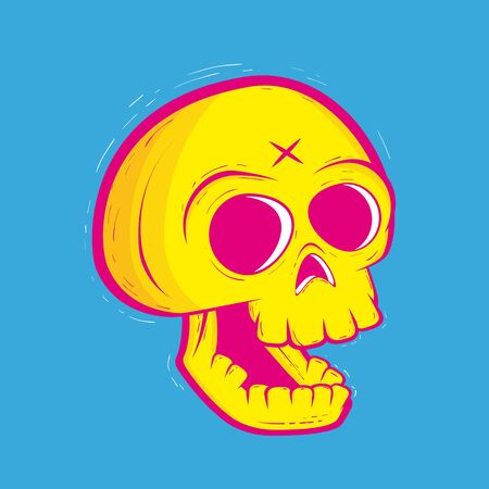 Neon skull illustration Illustration