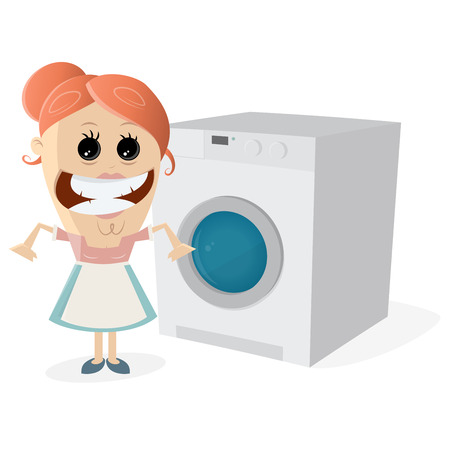 Happy housewife with washing machine Illustration