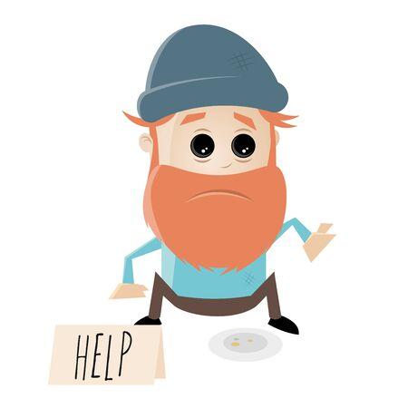 homeless man needs help Illustration
