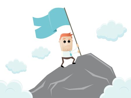 successful businessman reaching the top of the mountain Illustration