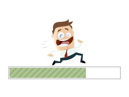 running businessman with progress bar Illustration