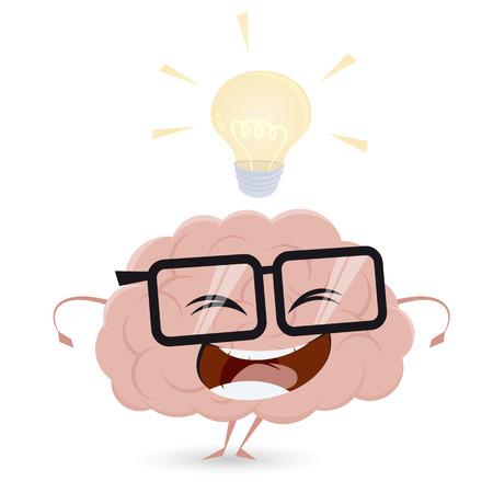 lustiges Cartoon-Gehirn mit Glühbirne Idee