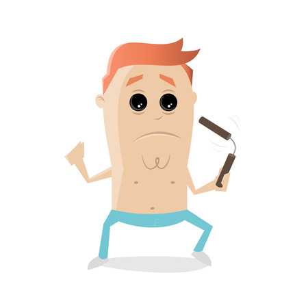 fighter with nunchaku cartoon clipart