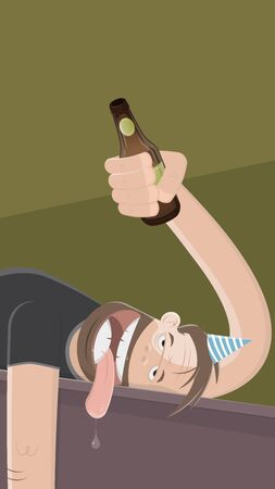 drunk man with bottle of beer Illustration