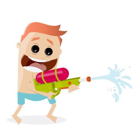Lustiger Cartoon-Mann, der mit einer Wasserpistole schießt Standard-Bild - 85098118