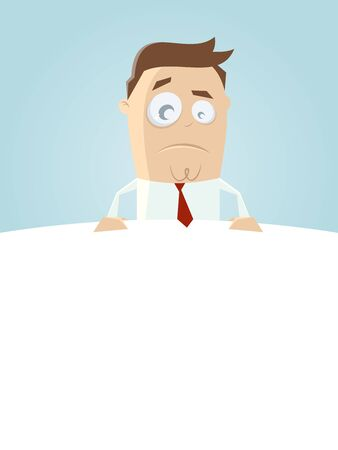 skeptical businessman on top of empty space Illustration
