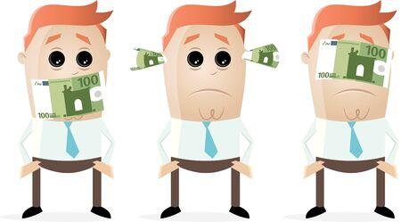taub stumm blinder Unternehmer mit Euro-Banknoten
