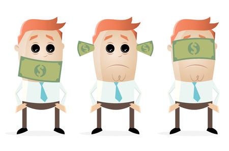 Taub dumme blinde Geschäftsleute mit Dollar Banknoten