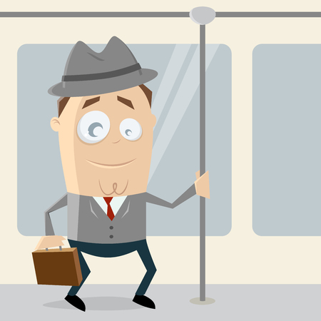 businessman going by tram Illustration