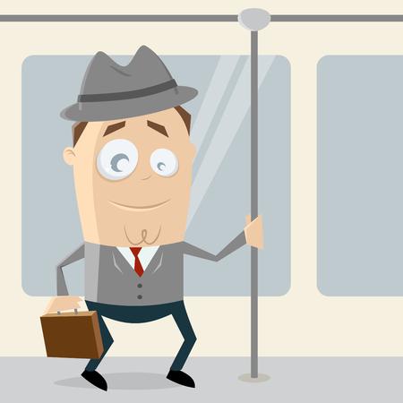 Geschäftsmann geht mit der Straßenbahn