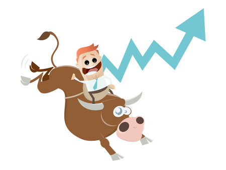 funny boom cartoon with man and bull Ilustrace