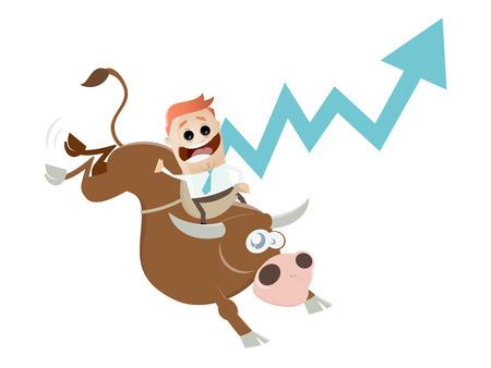lustige Boom-Karikatur mit Mann und Stier