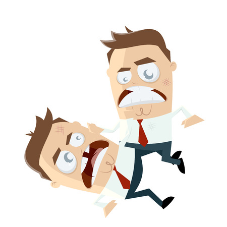 businessman fighting against each other