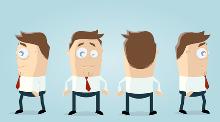 lustiger Geschäftsmann in verschiedenen Ansichten Illustration