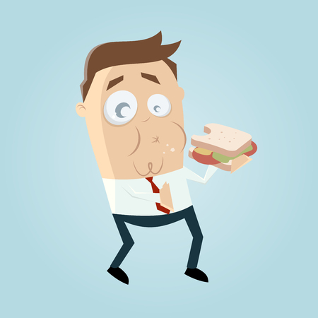 Lustiger Geschäftsmann, der ein Sandwich isst Standard-Bild - 84826033