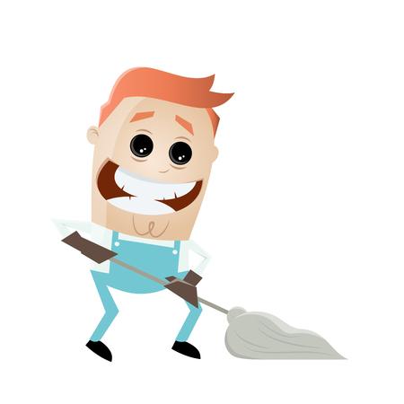 Reinigung Service Mann wischen den Boden