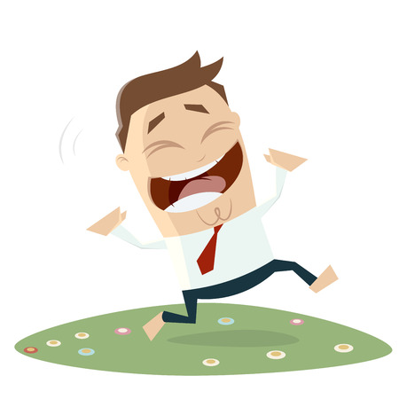 happy businessman running across a flower meadow