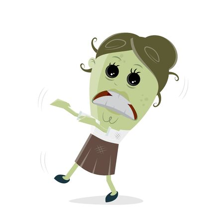 Funny business zombie woman vector Illustration