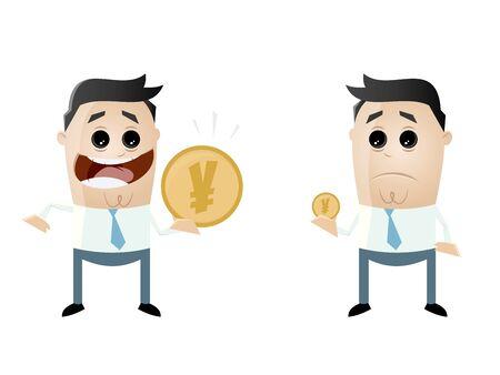 businessmen comparing their earnings yen vs yen Illustration