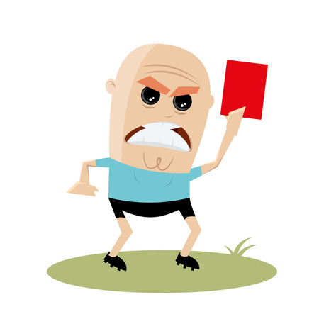Angry referee showing red card vector illustration.