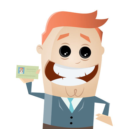 happy businessman showing passport or business card