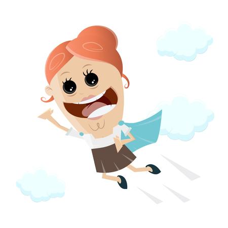 Fliegende Frau mit Supermächten