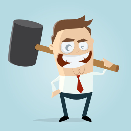 humorous: aggressive businessman with big hammer clipart