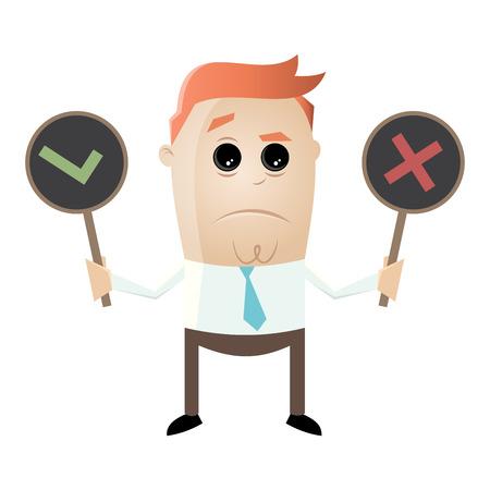 vector illustration of a businessman with yes or no sign Ilustração Vetorial
