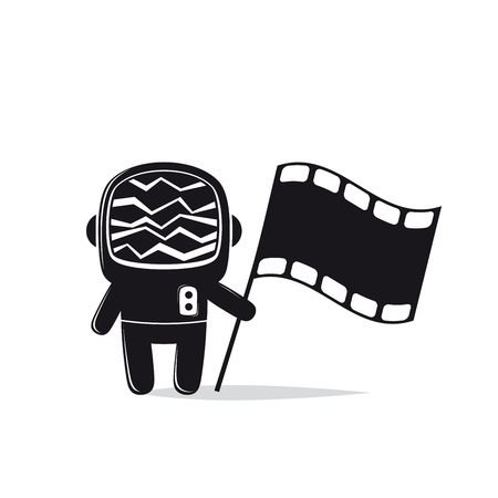 Astronaut with screen head and film flag Illustration