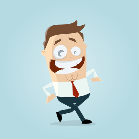 happy walking businessman Illustration