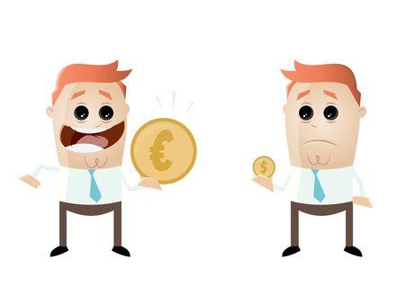 businessmen comparing their earnings euro vs dollar