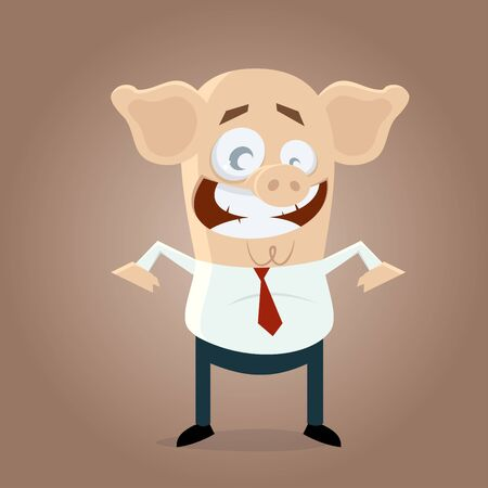 funny businessman with pigs head Illustration