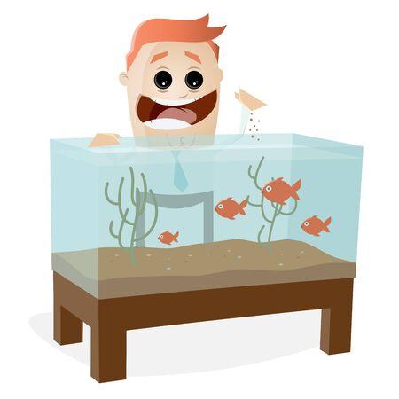 aquarium fishes hobby man clipart Illustration