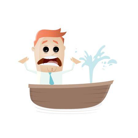Geschäftsmann im sinkenden Boot Illustration
