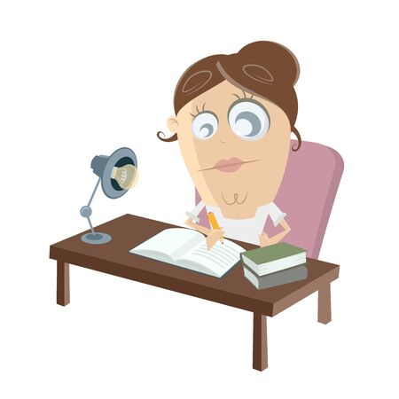 studying woman clipart