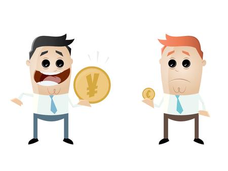 businessmen comparing their earnings yen vs euro