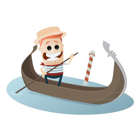 happy man in italian gondola Illustration