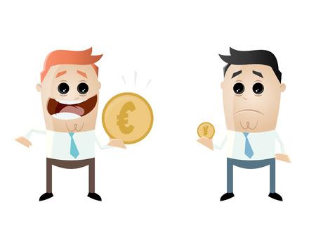businessmen comparing their earnings euro vs yen Illustration