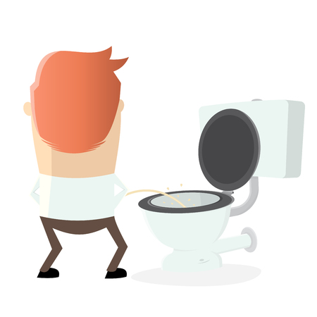 man peeing on the toilet seat