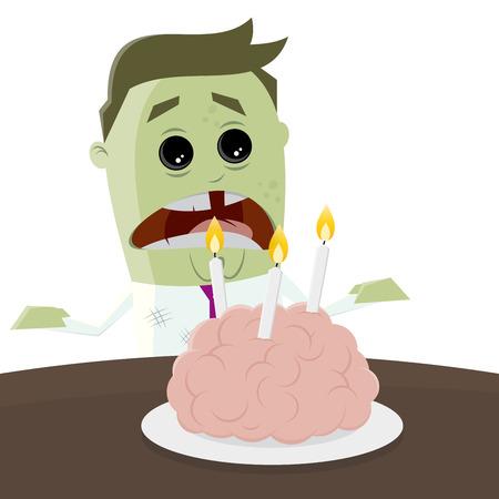 cartoon zombie celebrating his birthday with a brain cake