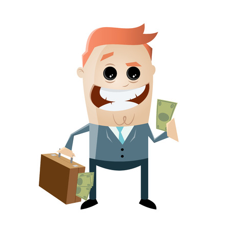 corrupt businessman with money in his bag Illustration