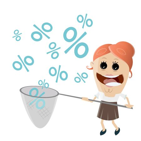 happy woman catching discounts Illustration