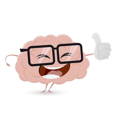 cerveau de bande dessinée drôle avec thumbs up