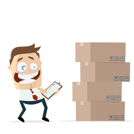 businessman with inventory boxes and checklist Illustration