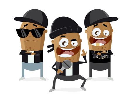 funny cartoon of gangster rappers Illustration